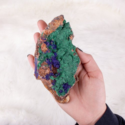 Large Moroccan Malachite with Azurite Inclusions