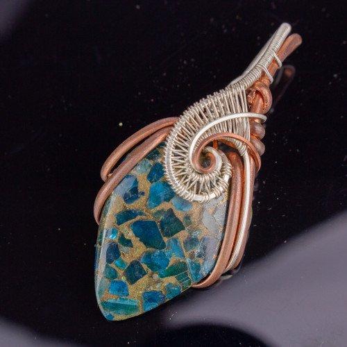 Blue Apatite Copper Teardrop