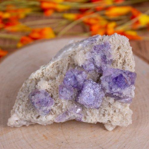 Purple Fluorite on druzy Quartz with Pryite cubes