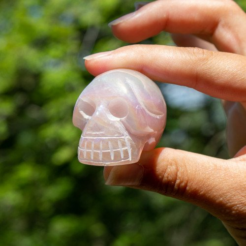 Angel Aura Rose Quartz Skull