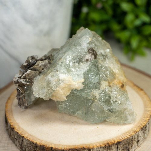 Raw Aquamarine with Albite and Muscovite