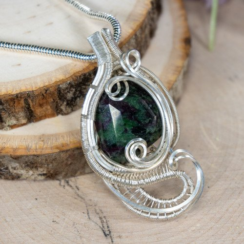 Facetted Ruby Zoisite (Silver) Wrap