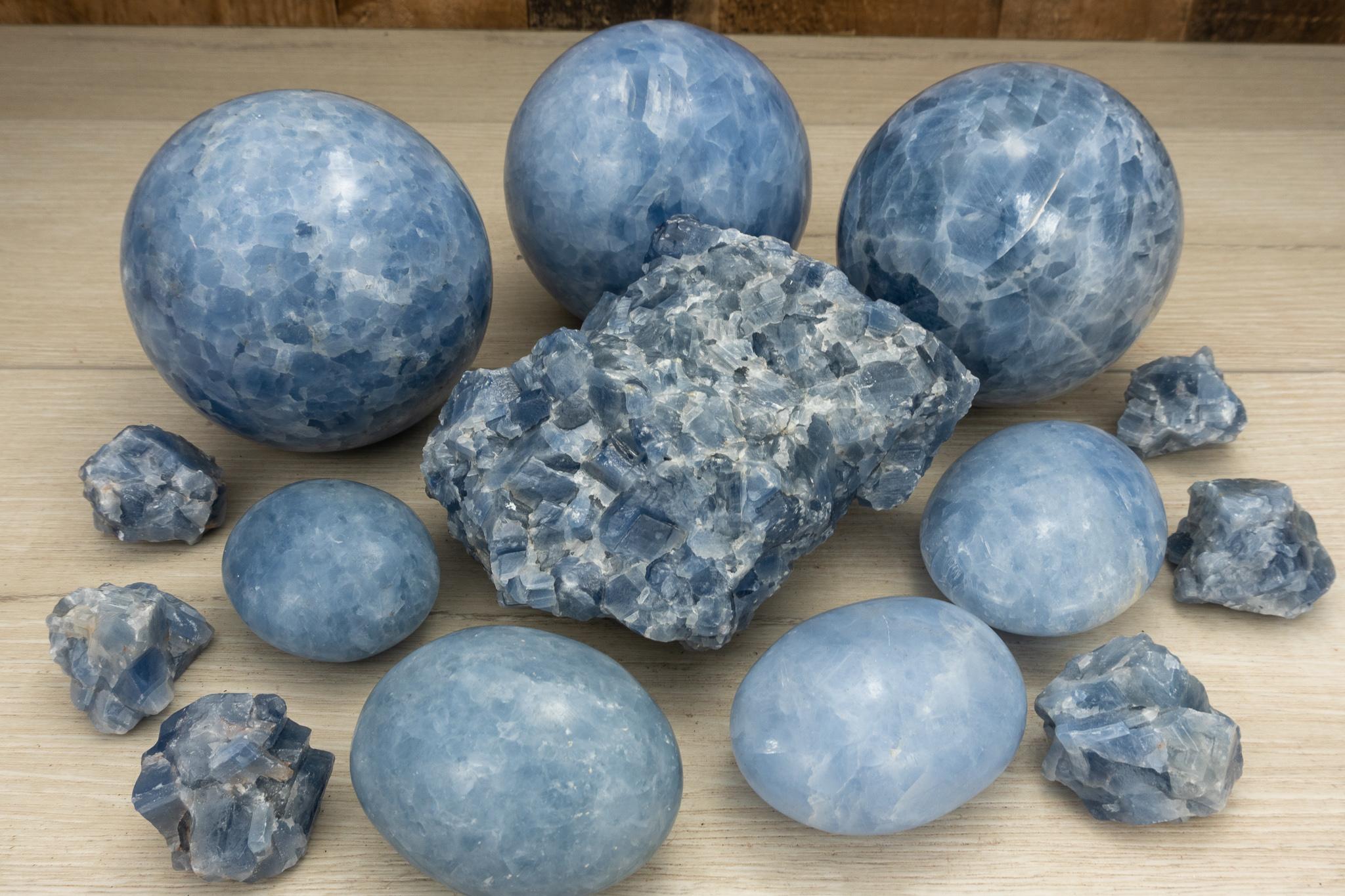 Blue Calcite Rough Stones Crystals Rocks Gemstone