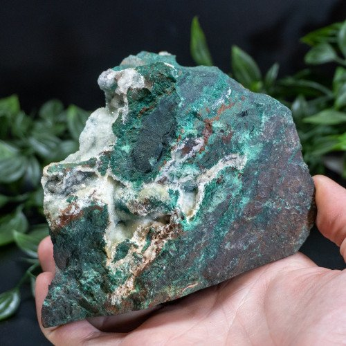 Small Flat Bottom Australian Malachite Ore with Druzy Quartz