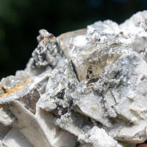 Fluorite With Druzy Quartz Coating and Chalcopyrite