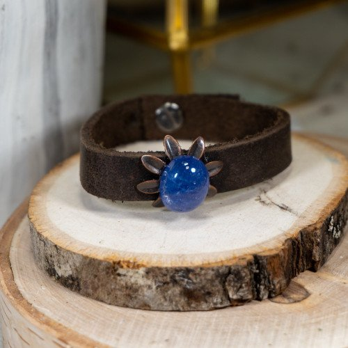 Blue Chalcedoney Leather Bracelet