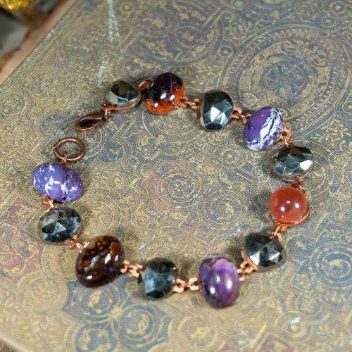 Pyrite, Sugilite, Carnelian Faceted Bracelet
