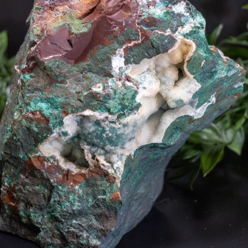 Large Flat Bottom Australian Malachite Ore with Druzy Quartz & Gem Silica