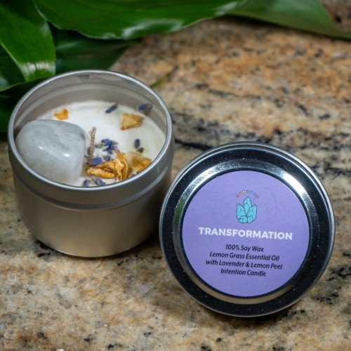 Transformation Intention Candle 2oz - Rainbow Moonstone