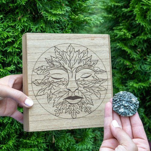 Greenman Wooden Crystal Box and Carving Combo