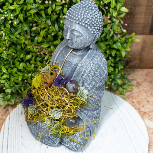 Crystal Buddha #4 with Fluorite and Quartz