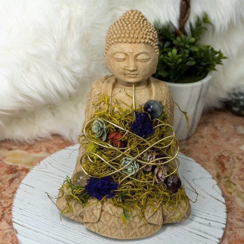 Crystal Buddha #8 with Fluorite and Quartz