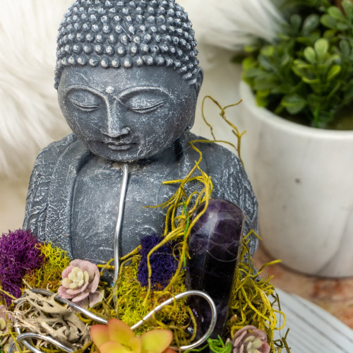 Crystal Buddha #6 with Fluorite