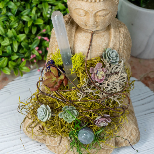 Crystal Buddha #15 with Selenite and Fluorite