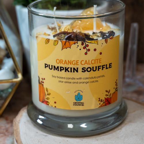 Orange Calcite Pumpkin Souffle Candle