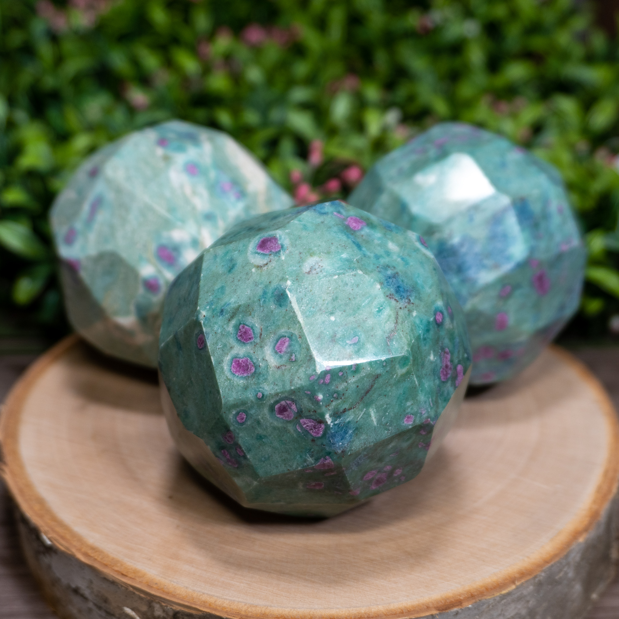 Ruby Fuchsite Sphere (Faceted)