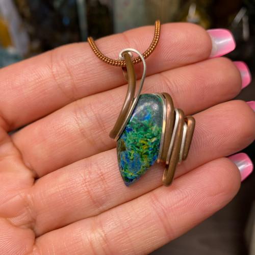 Malachite over Azurite Wire Wrap #2 (Copper & Silver)