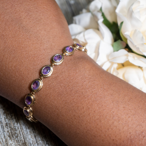 Amethyst in 14K Gold Bracelet