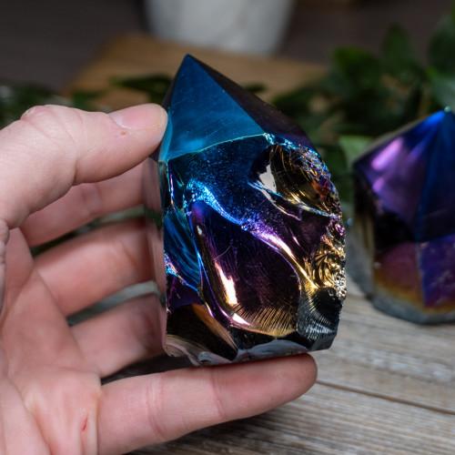 Titanium Quartz Coated Obsidian Polished Point
