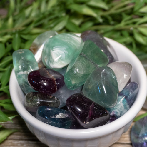 Tumbled Green & Purple Fluorite