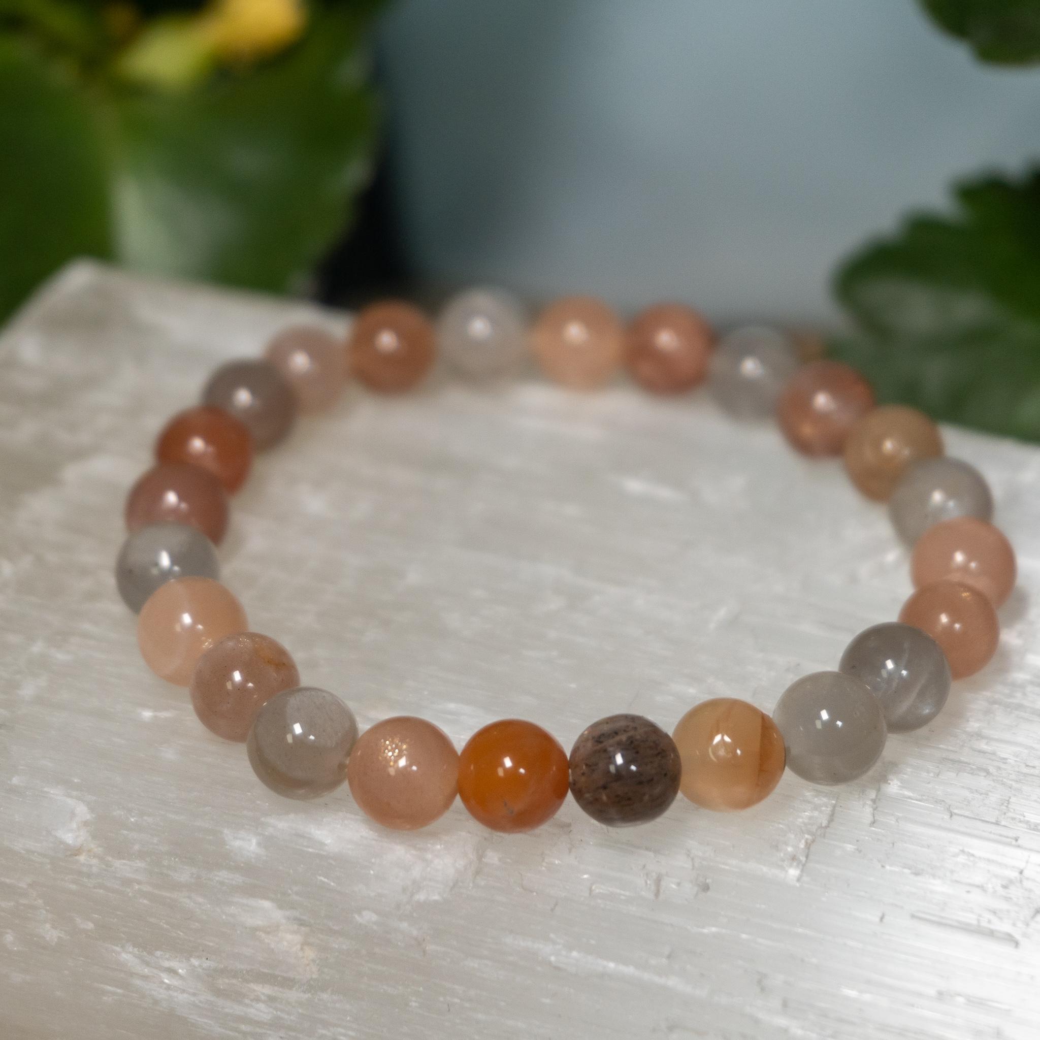 Peach and Grey Moonstone Bracelet