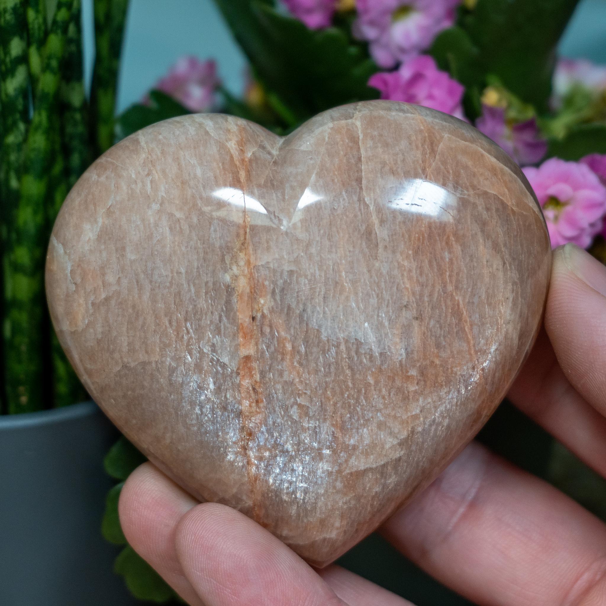 Large Peach Moonstone Heart