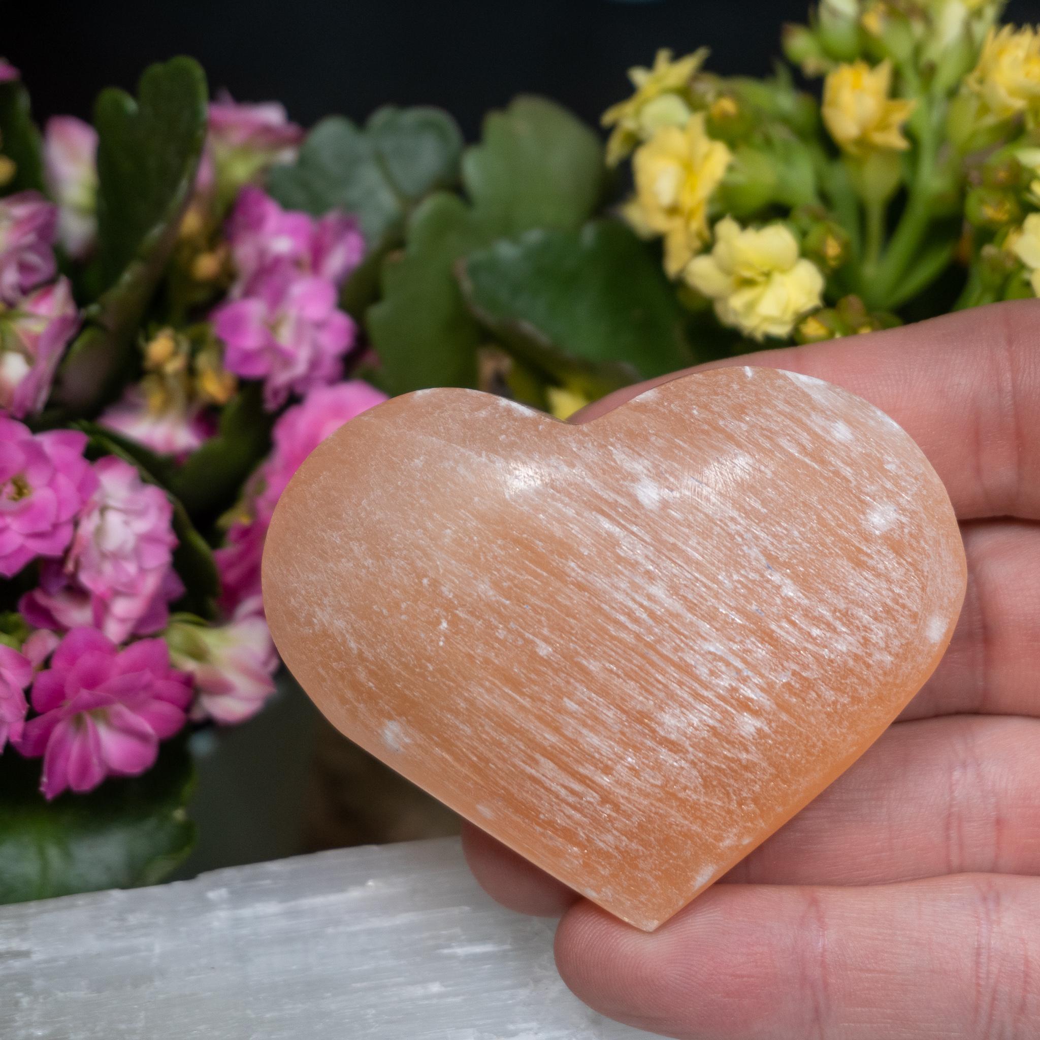 Orange Selenite Heart