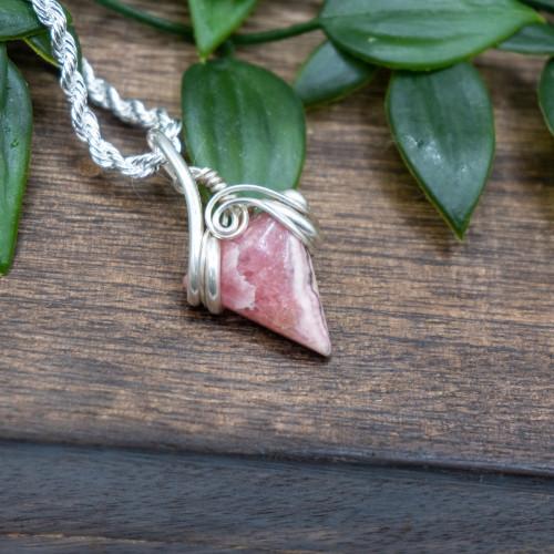 Rhodochrosite Triangle Silver Wrap