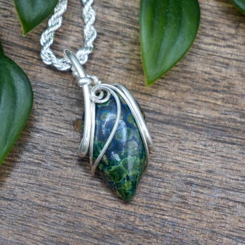 Azurite and Malachite Silver Wrap