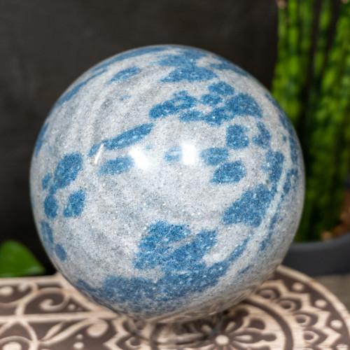 Large Dumortierite in Quartz Sphere
