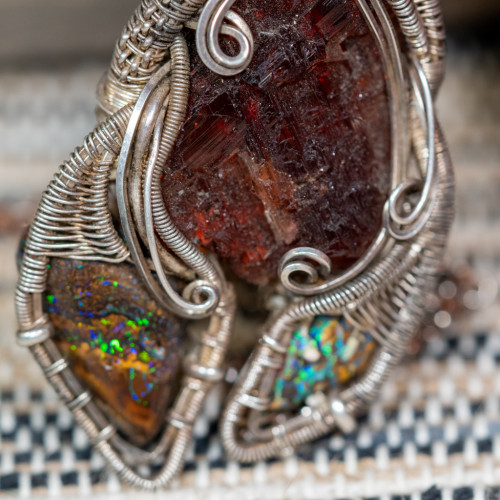 Spessarite Garnet and Boulder Opal Wrap