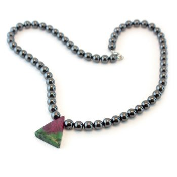 Hematite and Ruby Zoisite Necklace