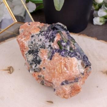 Large Orange Calcite, Green Apatite, & Purple Fluorite