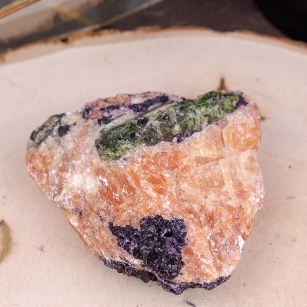 Small Orange Calcite, Green Apatite, & Purple Fluorite