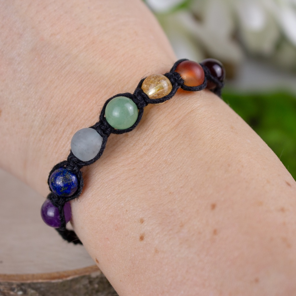 Adjustable Hemp Chakra Bracelet (Black)