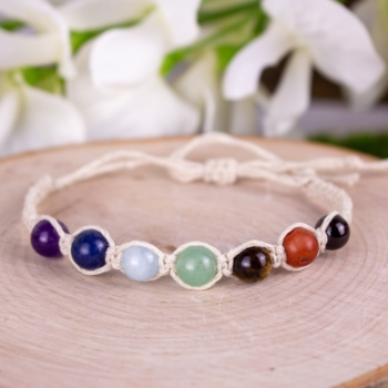 Adjustable Hemp Chakra Bracelet (Beige)