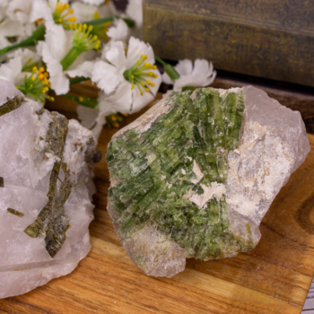 Large Raw Brazilian Epidote in Quartz