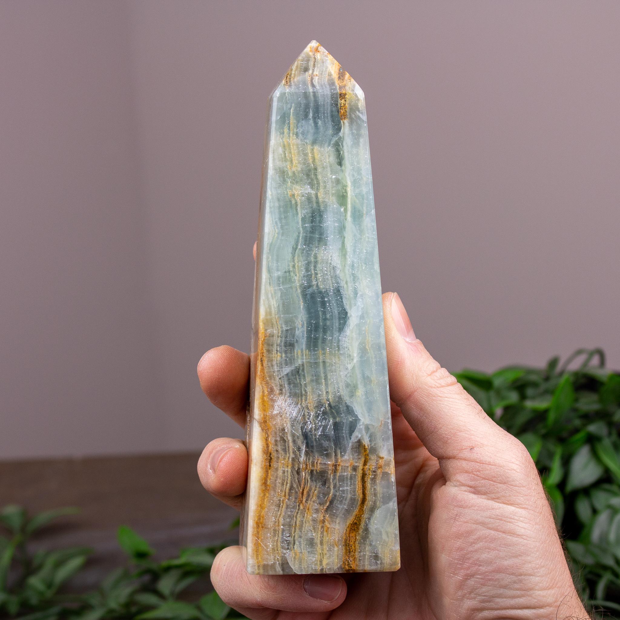 Small Blue Calcite & Onyx Obelisk
